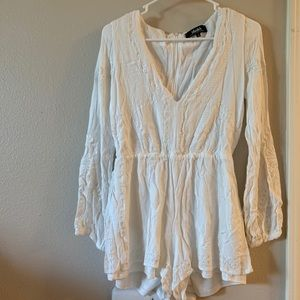 Lulus White Embroidered Long Sleeve Romper